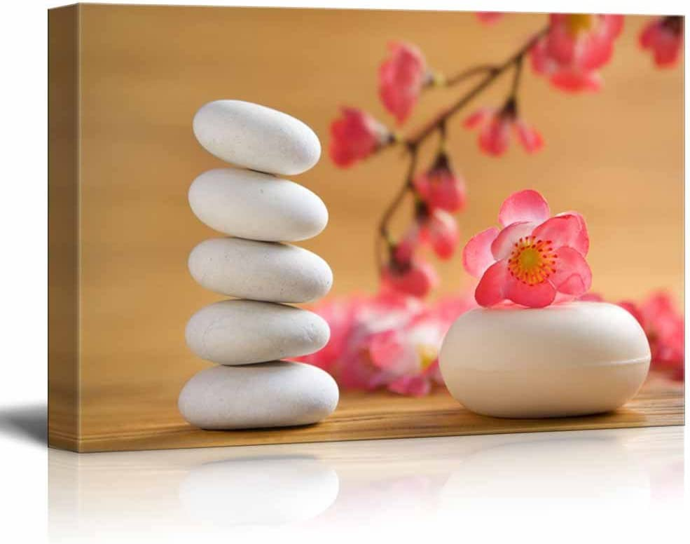 Canvas Prints Wall Art - Zen Stones with Cherry Blossom Branch   Modern Wall Decor/Home Decoration Stretched Gallery Canvas Wrap Giclee Print. Ready to Hang - 32