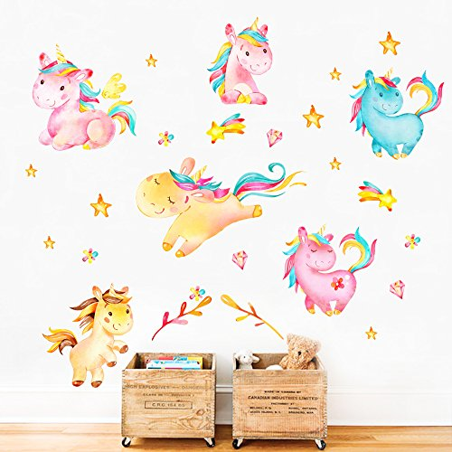 decalmile Unicorn Wall Decals Kids Room Wall Decor Childrens Nursery Baby Room Wall Stickers