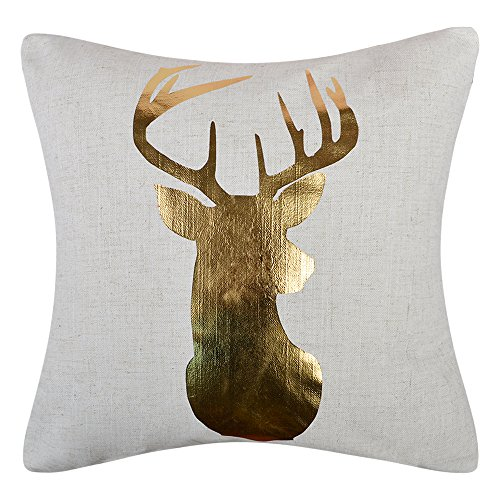 Deer Decorative (JWH Reindeer Accent Pillow Cases Linen Cushion Covers Decorative Pillowcases Christmas Festival Home Bed Living Room Decor Shells Gifts 18 x 18 Inch Gold Foil)