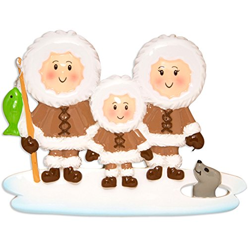 Personalized Eskimo Family of 3 Christmas Tree Ornament 2019 - Parent Friend Brown Fishing Ice Seal Holiday Winter Tradition Grand-Children Kid Alaska Cold Canada Gift Year - Free Customization