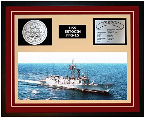 Navy Emporium USS ESTOCIN FFG 15 Framed Navy Ship Display Burgundy