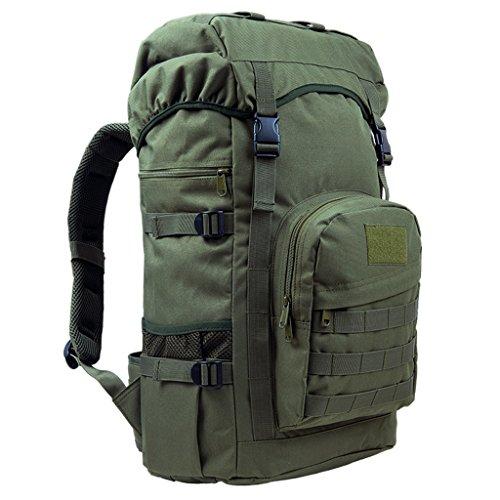 AMOS Bolso al aire libre del alpinismo bolso 50L hombres y bolso de hombro de las mujeres bolso del recorrido de la capacidad grande del recorrido paquete de los deportes bolso del ordenador del bolso Army green
