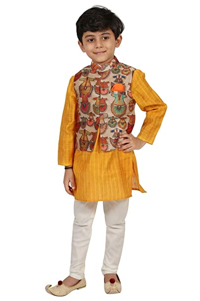 36c7100ed Chiquitita by PAYAL BAHL Boys Cotton Kurta Pyjama with Printed Multicolor Nehru  Jacket | Ethnic Wear Yellow: Amazon.in: Clothing & Accessories