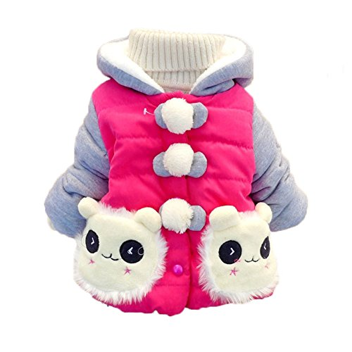 Kids Baby Girls Hoodie Panda Coats Snowsuit Jacket Outerwear Cotton-padded 6m-4t (6 (Advice 6-12 months), rose red)