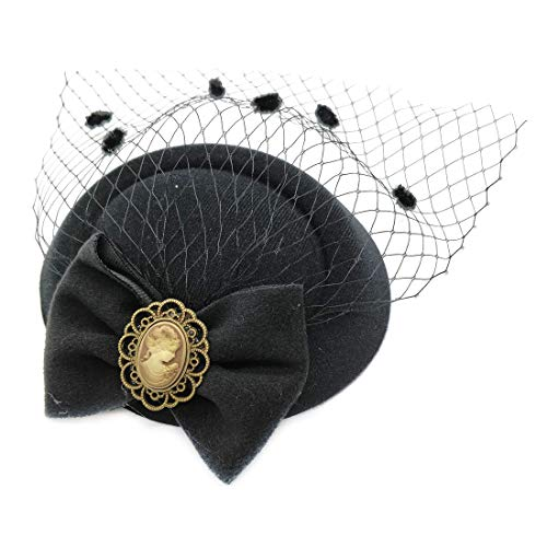 Ahugehome Fascinator Hair Clip Headband Pillbox Hat Victorian Lady Bowknot mesh Tea Party (A Black) ()