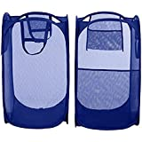 KRIWIN Sahaya Set Of 2 Polyester Big Size Mesh/Net Laundry Basket, 38 X 38 X 70 Cm