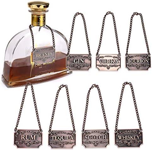 BSTKEY Juego de 8 etiquetas de cobre para decantador de licor para vino, whisky, bourbon, whisky, ginebra, ron, vodka, tequila y brandy
