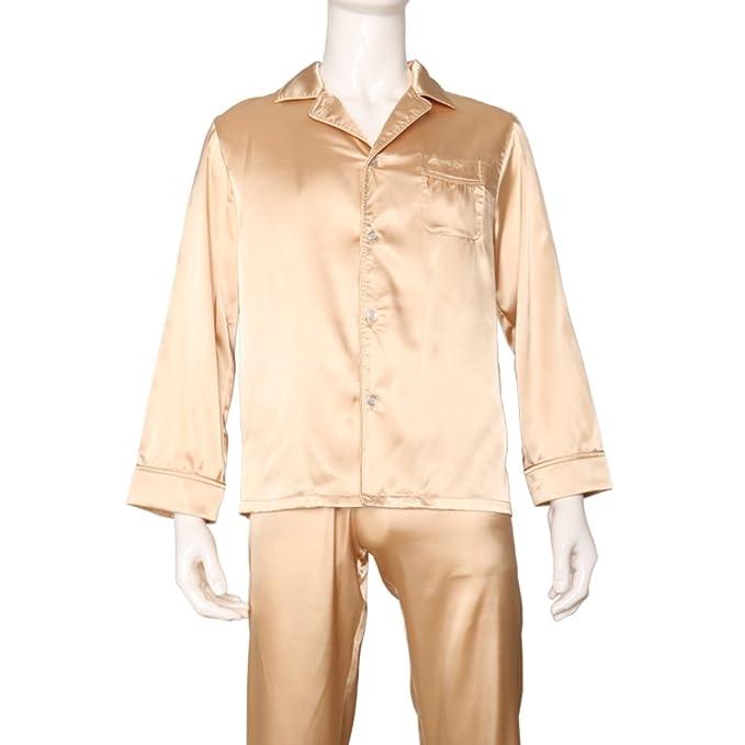 pijamas de los hombres/Básica manga larga lisa color sólido raso pantalones servicio a domicilio/ el manto/Pijamas-B XL: Amazon.es: Ropa y accesorios