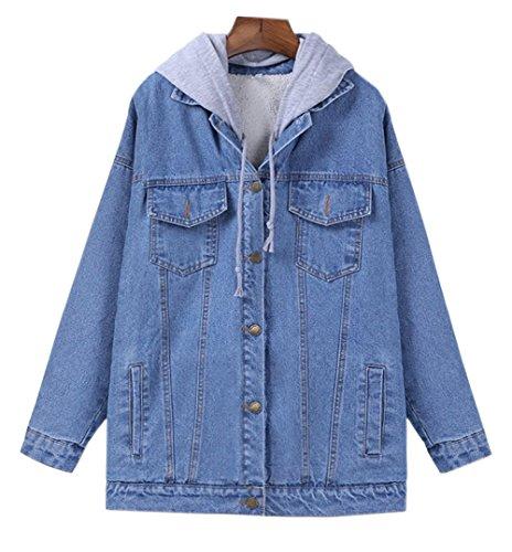 Women's Winter Fleece Lined Denim Jacket Coats with Hoodie (Light Blue, Large)