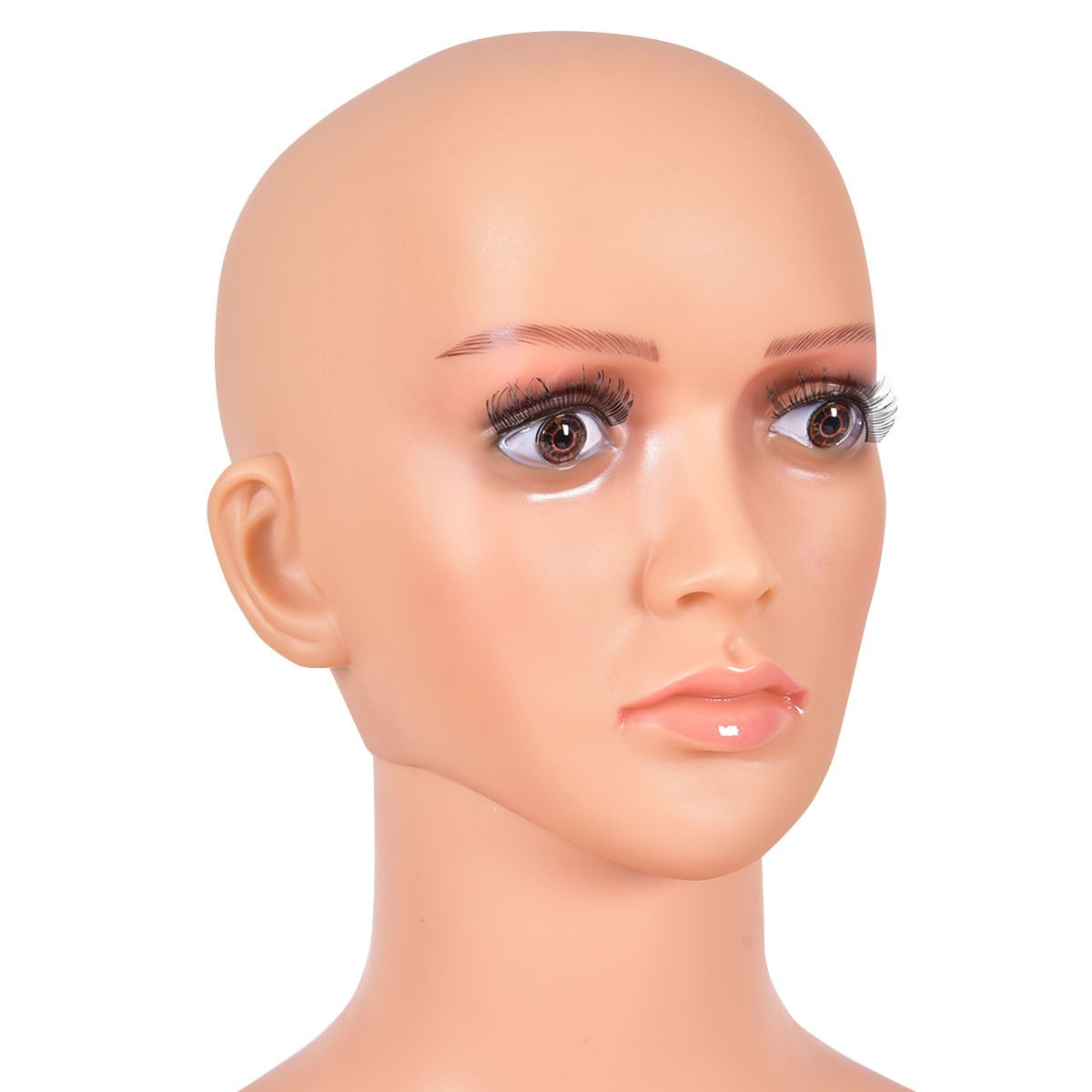 Natural Style 3 Giantex Female Mannequin Plastic Realistic Display Head Turns Dress Form w//Base