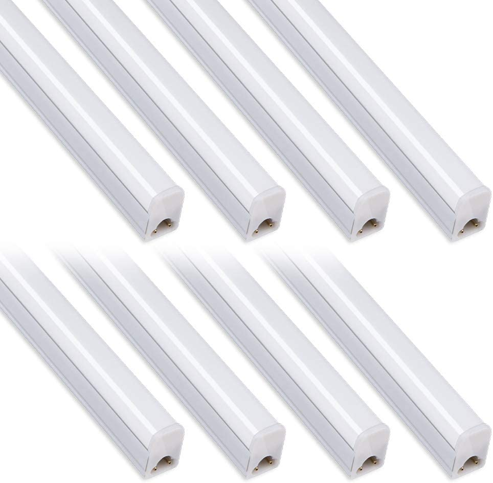 Pack of 8 Kihung Under Cabinet Light 2ft,10W,1100lm,6500K Super Bright White ,Utility led Shop Light, LED Ceiling Light and T5 LED Tube Light Fixture, Corded Electric with Built-in ON Off Switch
