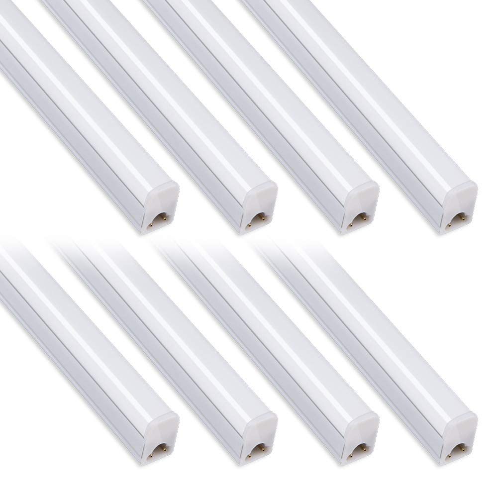 (Pack of 8) Kihung Under Cabinet Light 2ft,10W,1100lm,6500K (Super Bright White),Utility led Shop Light, LED Ceiling Light and T5 LED Tube Light Fixture, Corded Electric with Built-in ON/Off Switch