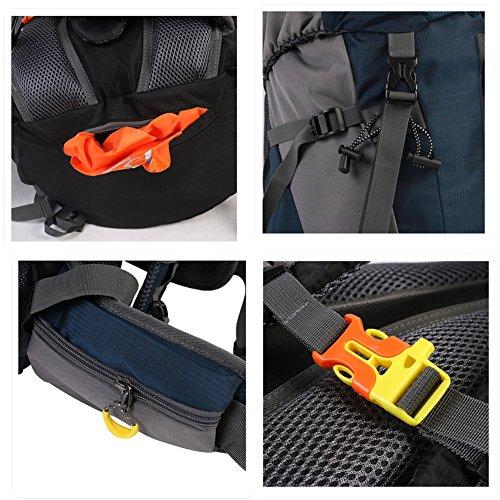 Senderismo Mochila fyhap 50L Outdoor Sport Mochila Nylon Mochila de senderismo impermeable, con protector de lluvia para hombre y mujer, negro azul
