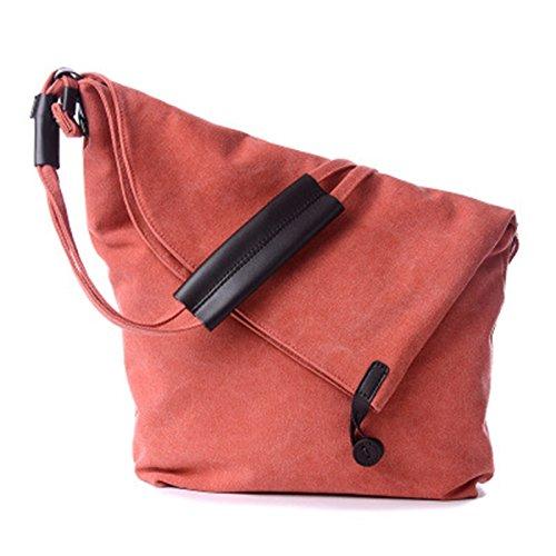 Jagenie Canvas Women Casual Summer Beach Bag Shoulder Messenger Bag Tote Bag Hobo Gray Orange