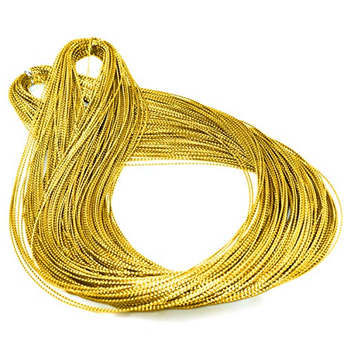 Teemico 218 Yards Metallic Cord Thread Tinsel String Craft Making Cord for for Jewelry Gift Tags(Gold)