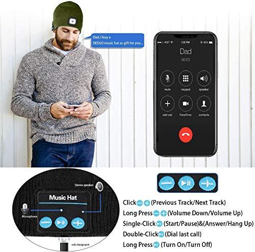 51N67TtYU8L ATNKE LED beleuchtete Bluetooth-Beanie-Kappe, wiederaufladbare USB-Musikalische Laufmütze mit extrem hellem 4-LED-Licht…