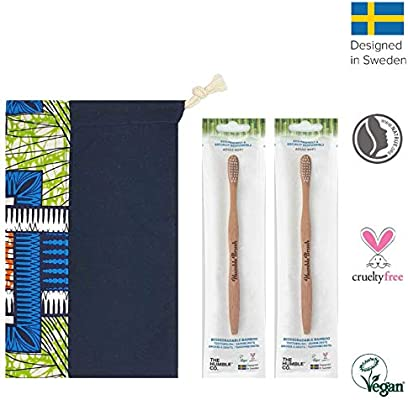 Cepillo dientes bambu Set de 2 (adultos, blanco) con cerdas suaves ...
