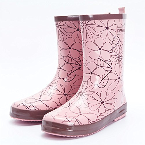 Ankle pit4tk Boots Boots Rain Waterproof Boots Cute Shoes Calf Pink Women's Mid BYrSY7wqF