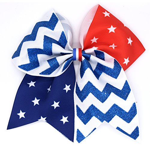Girls Cheer Hair Bow Ties, TBNO America Flag Glitter Hair Ribbons Bows with Elastic Tie (Large, about 7 inches)
