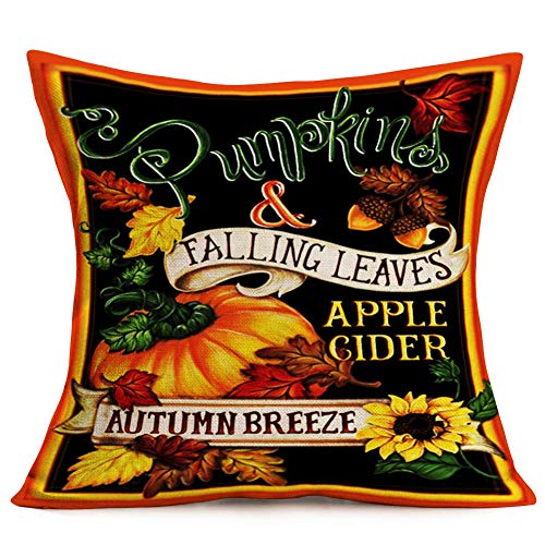 Smilyard Vintatge Pumpkin Quote Throw Pillow Covers Autumn Harvest with Black Background Throw Pillow Case Sunflower Fall Leaves Outdoor Decor Cushion Cover 18x18 Inch for Couch(AH 07) -