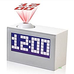 White Multi-Function Digital LED Projector Clock For Home Decor Talking Projection Alarm Clock