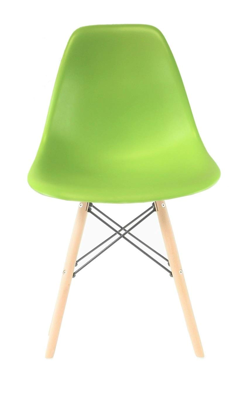 Plata Import PDI-PC-0116W Eames Style Side Chair with Natural Wood Legs Eiffel Dining Room Chair, Green Plata Décor Import Inc
