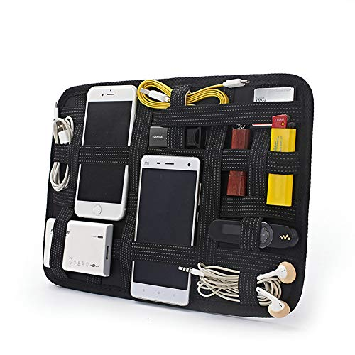 Nenalayo Grid Organizer Large Travel Accessories Storage Board with Elastic Bands for Electronic Cosmetics Personal Effects