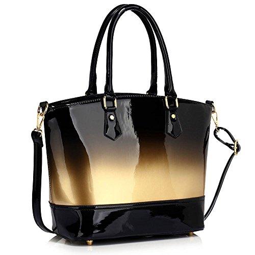 ANNA GRACE - Bolso de asas de Charol para mujer Design 1 - Gold
