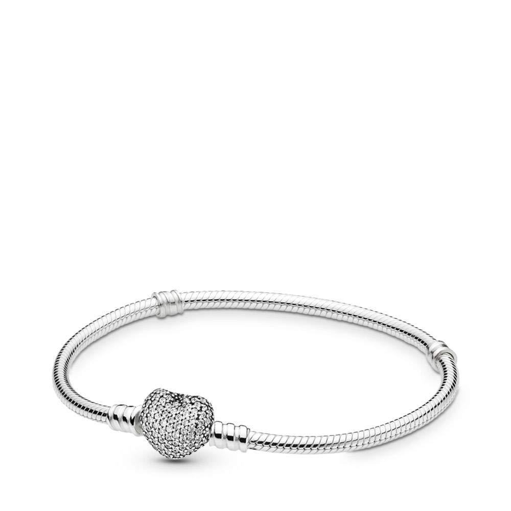 Pandora Pavé Heart Bracelet, Sterling Silver, Clear Cubic Zirconia, 6.7 in