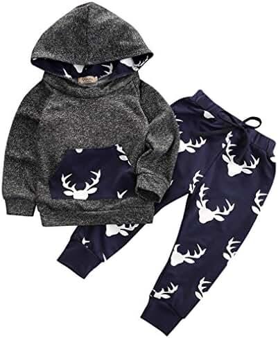 Toddler Infant Baby Boys Deer Long Sleeve Hoodie Tops Sweatsuit Pants