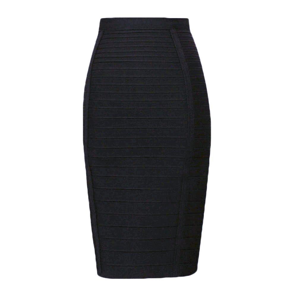 HLBandage Women's High Waist Elastic Rayon Bandage Pencil Skirt(L, Black) by HLBandage