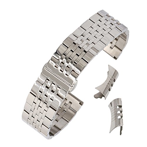 19mm Curved Connection Silver Business Watch Belt Solid 304 Stainless Steel Watch Strap Deployant Clasp by autulet