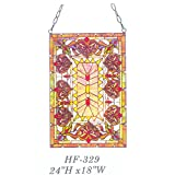 HF-329 Rural Vintage Tiffany Style Handmade Stained Glass Window Hanging Glass Panel Suncatcher, 24''x18''