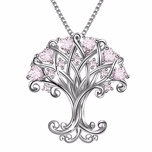 925 Sterling Silver  Tree of Life  Pink Heart Cubic Zirconia Vintage Pendant Necklace, Box Chain 18