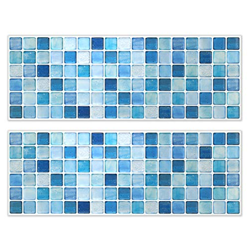 BEAUSTILE Decorative Tile Stickers Peel and Stick Backsplash Fire Retardant Tile Sheet (N.Blue) (10, 5.28'' x 14.8'') by BEAUS TILE (Image #1)