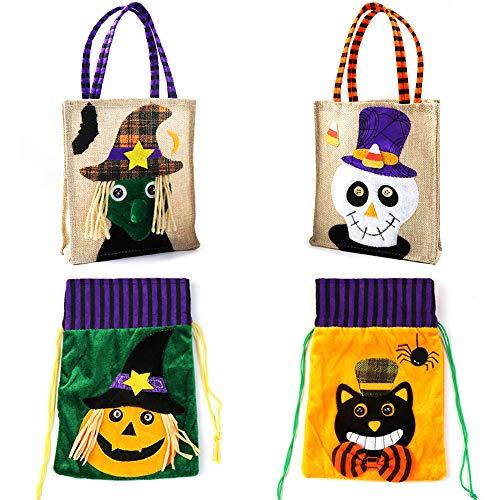 ZALALOVA Halloween Tote Bags, 4Packs Trick or T...