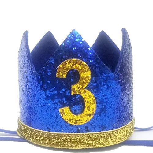 (Baby 3rd Birthday Boy Crown - Baby Boy Birthday Flash Third birthday Crown Headband Little Prince Smash Baby Shower Photo Props-Blue Gold)
