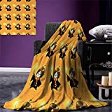 Wizard Digital Printing Blanket Cartoon Wizard Character with Glasses in Costume Frock with Magical Wand Print Summer Quilt Comforter 80''x60'' Orange Black