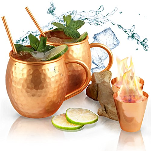 Abhiasa Moscow Mule Copper Mugs Set - 2 Mugs (16 Oz) + 2 Shot Glasses (2 Oz) + 2 Straws (6,5 in) - All components made of 100% Solid Copper - Perfect for Cocktails and Cold Drinks (Vodka Gift Basket Ideas)