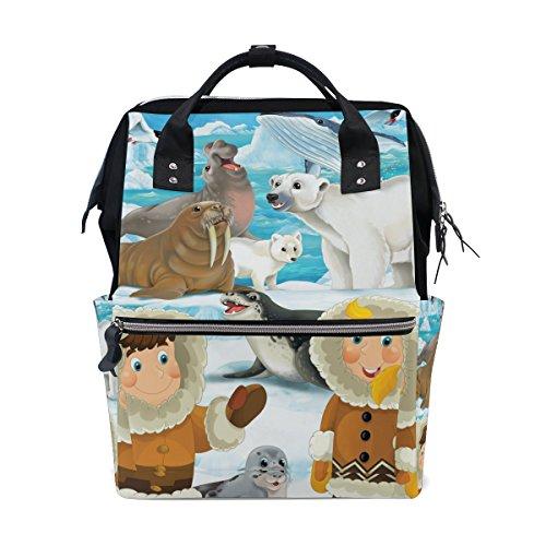 My Little Nest Large Capacity Baby Diaper Bag Cartoon Winter Scene Eskimos Seal Polar Bear Durable Multi Function Travel Backpack for Mom Girls ()