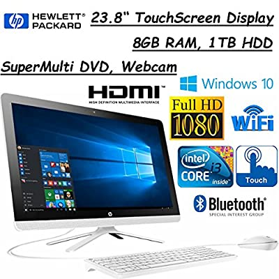 "2017 Flagship Model HP 23.8"" FHD (1920x1080) TouchScreen Premium High Performance All-In-One Desktop, Intel Core i3-6100U, 8GB RAM, 1TB HDD, Windows 10, Black/White"