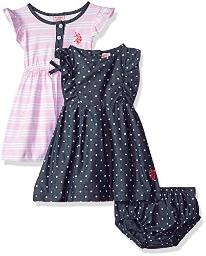 - U.S. Polo Assn. Baby Girls Multi Pack Dress, Woven Dress Pack Knit Chambray Rose Shadow, 12M