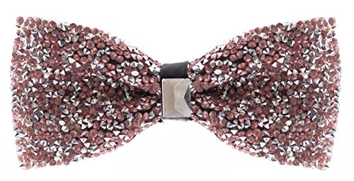 Baby Pink Rhinestone Bow Ties - Pre Tied Sequin Bowties with Adjustable -