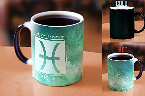 Morphing Mugs Birthday Zodiac Sign (Pisces) Heat Reveal Ceramic Coffee Mug - 11 Ounces Light Green