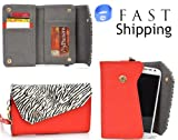 Safari Series Women's Crossbody Mini Wallet Clutch // Mandarin Red Zebra for BLU Life Play | Play 2 | Play X L102A