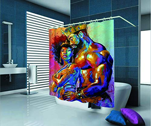 SARA NELL Afro Black Art Shower Curtain,African American Lover Couple King&Queen Oil Painting,72X72in Polyester Fabric Bath Curtain Shower Curtain