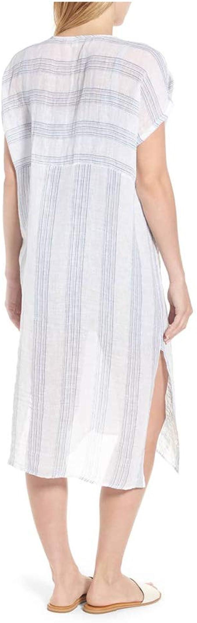 Eileen Fisher Chambray Organic Linen Gauze Multi Stripe V-Neck C//L Caftan