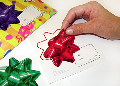 Holiday Bow Stickers (Pack of 30 Bows)- 3D Image Stickers that Look like Poly Bows with Tags, Bows Won't Crush like Poly Bows, Great for Shipping Gifts ()