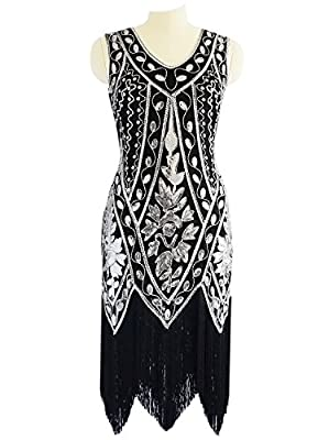 Miuco Women's 1920s Sequined Beaded Fringed Flapper Gatsby Evening Dress