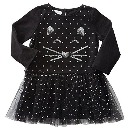(Mud Pie Girls' Toddler Halloween Mesh Tutu Cat Dress, Black LG/)